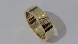 Handmade three color gold band ring 18 kt