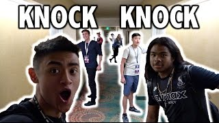 DING DONG DITCHING 7 DOORS AT ONCE PRANK! (AT PLAYLISTLIVE)
