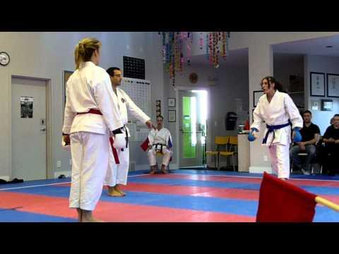 Women Sparring in Karate, Charleswood vs Winnipeg Budokai - IDSL 2012