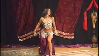 English girl doing belly dance on arabic song.