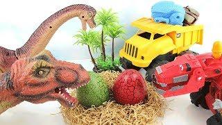 Truck Steal Eggs Of Dinosaur Walking T Rex! Dino Transforming Eggs Truck! Fun Dinosaur Toys for kids