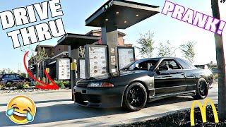 Reverse Drive Thru Prank With Right Hand Drive Nissan Skyline GTR!!