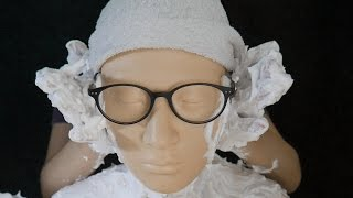 ASMR Ear Brushing and Ear Massage with Shaving foam(cream) - Binaural / No Talking