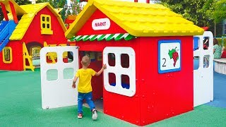 Outdoor Playground for children Amusement park Funny playtime with Vlad and Nikita