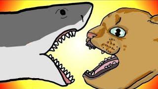 """My Cute Shark Attack Cartoon #8"" (Shark-Copter vs. Dino-Copter!!!) as CATS!"