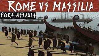 Total War Rome 2 Online Battle : 2v2 Port Assault : Rome vs Massilia