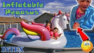 Trinity Cuts Knee Open in Pool with Intex Inflatable Mega Pegasus Toy - Bloody!