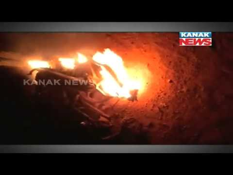 Three Youths Burn Alive In Road Accident In Mayurbhanj