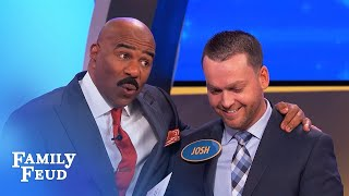 Must-see! Steve Harvey gives Josh financial advice! | Family Feud
