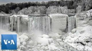 Part-Frozen Niagara Falls Wows Visitors