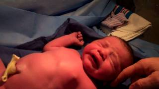 daniel just born..newborn baby boy crying (5 minutes old)