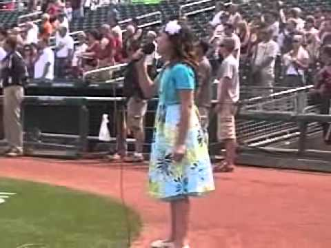 Amazing 10 Year Old Singer Performing the National Anthem before a 2011 MLB Spring Training Game