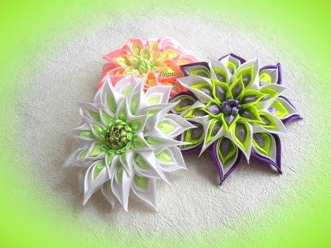 Видео цветы из лент своими руками канзаши мастер класс видео