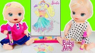 Baby Alive Blonde Lily Barbie Prenses Boyama Yapıyor - Okul Sonrası Etkinlik   Oyuncak Butiğim