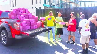 Surprising The Homeless With 10,000 Donuts...   (feeding the homeless)