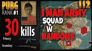 PUBG Rank 1 - Menthol_TV 30 kills SQUAD w/ randoms - PLAYERUNKNOWN'S BATTLEGROUNDS #112