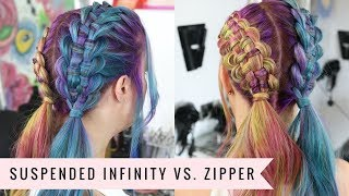 Suspended Infinity Braid VS. Zipper Braid by SweetHearts Hair