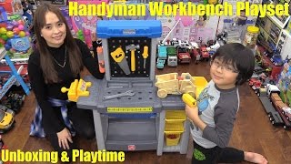 Tools Playset. Kids' Pretend Handyman Workbench Playset Unboxing & Playtime Fun w/ Hulyan