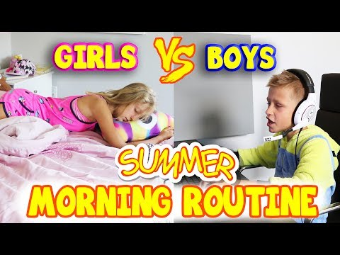 Xxx Mp4 GIRLS Vs BOYS Summer Morning Routine 3gp Sex