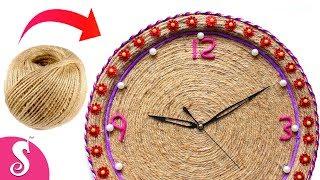 Make Wall CLOCK/Watch/Ghadi from Jute & Waste Bucket Cover  | Wall Decor | Room Decorating Idea