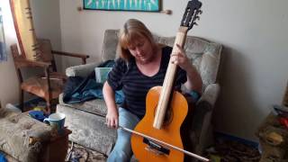 Home made 'cello made from guitar