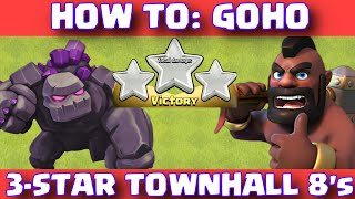 Download Clash Of Clans How To GoHo 3-Star Clan War Attack Strategy | Townhall 8 Golems And Hogriders 3Gp Mp4