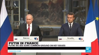 Putin in France: Russian President reacts on Election hacking, #MacronLeaks, Le Pen's visit