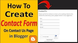 How to Create Contact us Form in Blogger |How to Add a Contact Form on Contact us page on Blogger