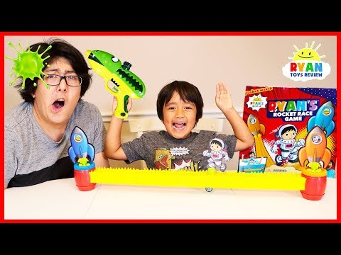 Ryan s Rocket Race Game vs. Daddy Loser Gets Blast with Slime