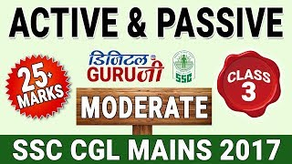Active & Passive Voice   Moderate Level   English   Class 3   SSC CGL MAINS 2017   Digital Guru Ji