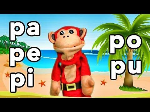 Sílabas pa pe pi po pu El Mono Sílabo Videos Infantiles Educación para Niños
