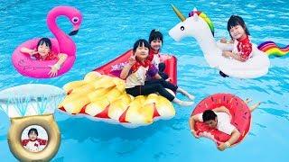 いろいろな浮き輪でプール遊び水遊び今年も雨!| HaneMarisWorld