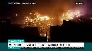 Blaze destroys hundreds of wooden homes in Brazil