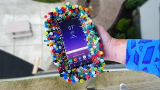 Can 1000 Thumbtacks Protect Note 8 from Extreme Drop Test onto Concrete?