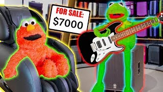 Kermit the Frog and Elmo Buy BLACK FRIDAY PRESENTS! (Massage Chair & Concert Speakers)