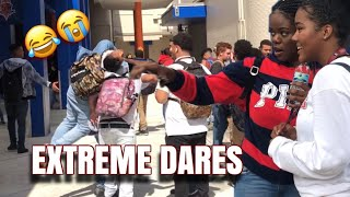 EXTREME SCHOOL DARES!|HIGHSCHOOL EDITION 😂 (OR GET SQUIRTED IN THE FACE)