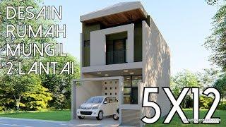 Desain Rumah Mungil 2 lantai - 5x12m [kode 143B]