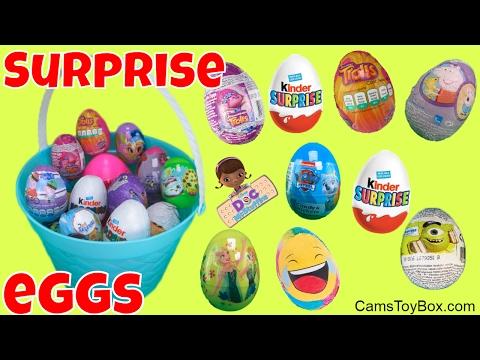 Trolls Disney Peppa Pig Surprise Eggs Emoji Kinder Monsters Inc Plastic Easter Doc McStuffins Barbie