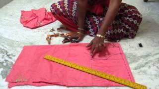 Umbrella frock cutting with measurements in Telugu