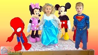 5 Little Monkeys Jumping on a Bed | Elsa Superman Minnie Mouse Mickey Mouse Spiderman | CC and Wally
