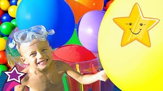 Learn Colors with HUGE Balloons Fun Pool Games FUNNY CRAZY SPLASHES FALLS Kids Nursery Rhyme Song