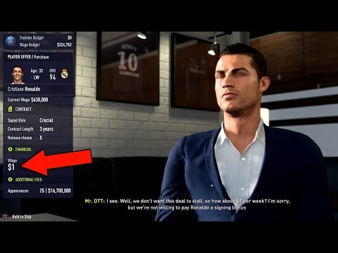 What Happens if you offer Ronaldo $1 in Wage? (FIFA 18 The Journey)