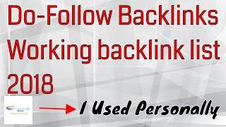 Do Follow backlinks || Working backlink list 2018