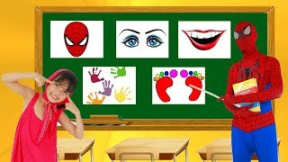 School colors Masha Learn Human Body Part Superman w/ Spiderman Teacher Elsa Eyes Mouth Learn Color