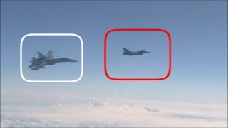 Russian Su-27, Forces Away NATO F-16 After It Approaches The Russian Defence Minister's Plane.