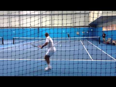 Thomas Muster & Alina Jidkova hitting balls at Melbourne Pa