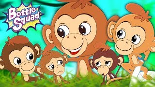 Five Little Monkeys Jumping On The Bed   Bottle Squad Video   Nursery Rhymes For Children by Kids Tv