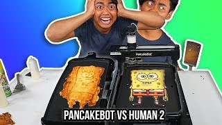 I Tried To Pancake Art Vs A Pancake Art Robot (Round 2)