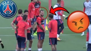 Neymar makes PSG players mad in his first PSG training session  (giveaway)