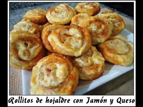 Rollitos de hojaldre con Jamón y Queso Mozzarella